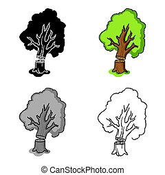 Falling tree icon in cartoon style isolated on white...