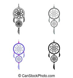 Dreamcatcher icon in cartoon style isolated on white background.