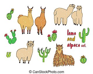 Cute Lama, Alpaca and cactuses set. Hand drawn colorful...