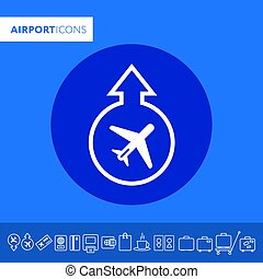 Vector icon, airport icon. Takeoff and landing of the...