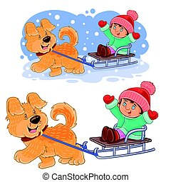 Vector little girl sitting in a sleigh who is dragging her...