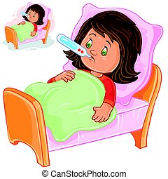 Vector sick little girl lies in bed with a thermometer.