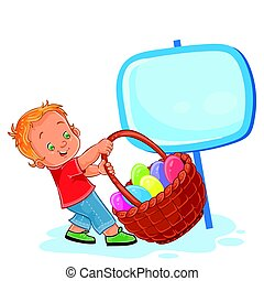 Vector little boy is dragging a basket for Easter hunting...