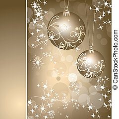 Christmas gold background with ball. Vector