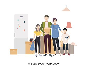 Family moving into a new house with things. Cartoon illustration in flat style.