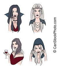 Set of various vampire girl. Woman with fangs and blood. Collection stylish portrait halloween character. Hand drawn vector illustration.
