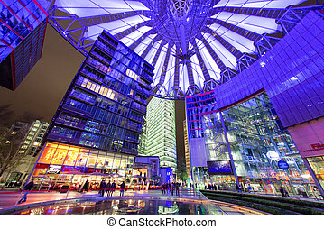 Sony centre at night in Potsdamer platz in Berlin - BERLIN,...