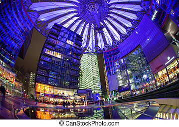 Sony centre at night. Potsdamer platz, Berlin - Germany -...