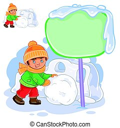 Vector little boy rolling a snowball and building a snow fortress