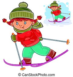 Vector illustration of a little girl skiing