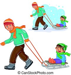 Vector dad, older brother dragging sled with little boy -...