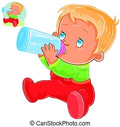 Vector little child is drinking milk formula from a baby bottle.