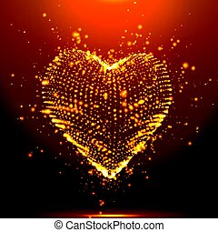 Abstract vector orange background with glowing heart. Cloud of yellow shining points in the shape of a heart. Futuristic style card. Eps10