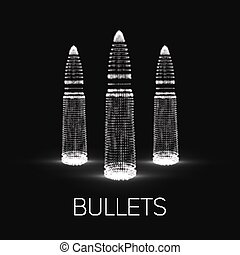 Abstract vector monochrome background with glowing bullet....