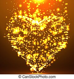 Abstract vector background with glowing heart. Cloud of orange shining points in the shape of a heart. Futuristic style card. Eps10