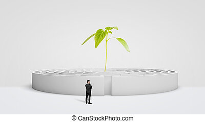 A businessman standing in front of a white round maze with a new green plant growing from its center.