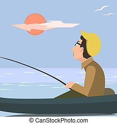 man fishing from the boat vector catoon