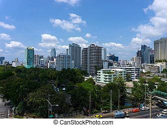 cidade, edifícios, aéreo, jardim, escritório, modernos,  Bangkok, vista