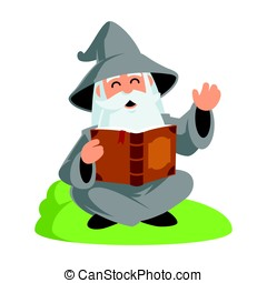 Wizard - Friendly wizard, he is reading a book