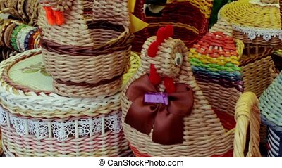 Fair of wicker baskets made of straw and willow