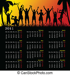calendar for year 2011 with happy people vector illustration