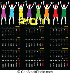 calendar for year 2011 vector