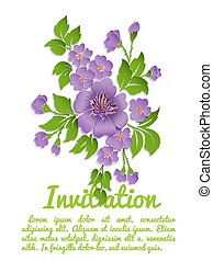 Vector spring background with volumetric flowers. Paper cut...