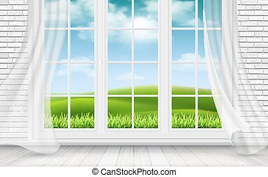 View of the countryside through window