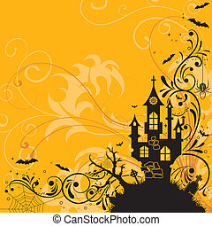 Halloween theme - Halloween background with bat and castle,...