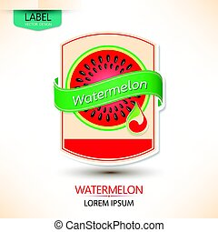 Watermelon juice label vector design