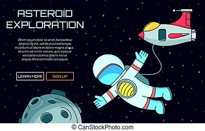 asteroid exploration background - Flat vector web background...