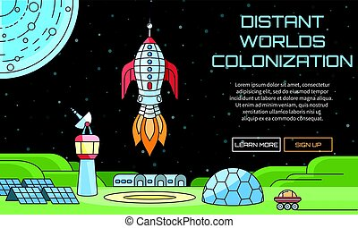distant worlds colonization background - Flat vector web...