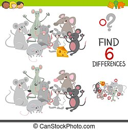 differences game with mice - Cartoon Illustration of Spot...