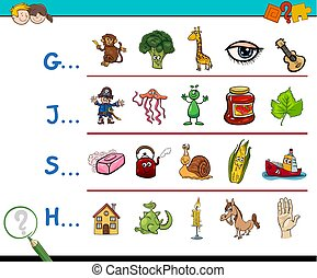 picture first letter activity - Cartoon Illustration of...