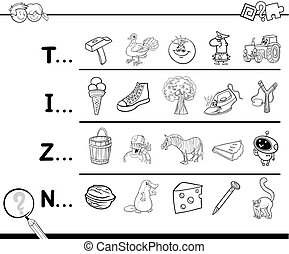 first letter coloring book - Cartoon Illustration of Finding...