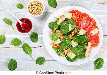 low calories spinach, grilled chicken salad - low calories...