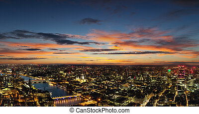 Beautiful sunset over old town of city London, England -...