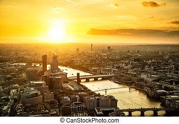 Beautiful sunset over of city London, England - Beautiful...