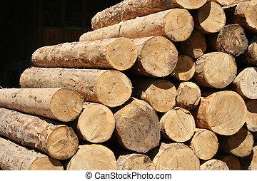 Pile of large timber beams