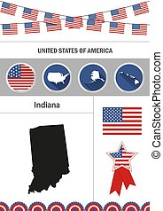 Map of Indiana. Set of flat design icons nfographics elements wi