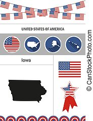 Map of Iowa. Set of flat design icons nfographics elements with