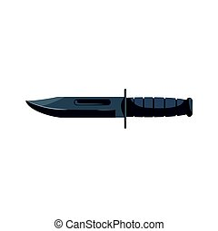 Nonfolding military knife. Military weapon vector...