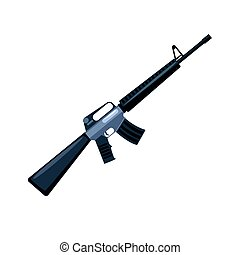 Automatic machine gun. Military weapon vector Illustration