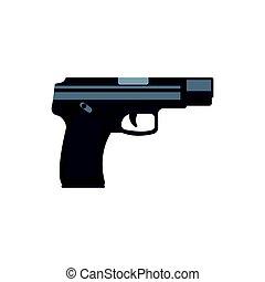 Automatic handgun pistol. Military weapon vector Illustration