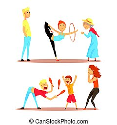detalhado, aro, jogo, rua, coloridos, malabarista, dança, Circo, tocando, vetorial, ginástica, ilustrações, atores, menina, ou, caricatura, Alfinetes