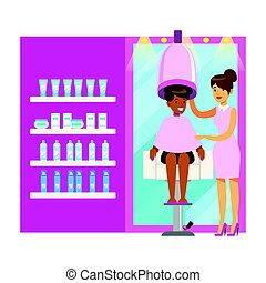 Women drying hair in beauty salon. Colorful cartoon character vector Illustration