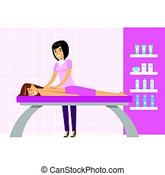 Young woman having a massage in a wellness studio. Colorful...