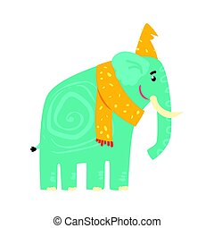 Cute turquoise cartoon elephant in a yellow hat and scarf. Jungle animal colorful character vector Illustration