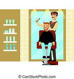 Male hairdresser brushing hair of bearded man. Colorful cartoon character vector Illustration