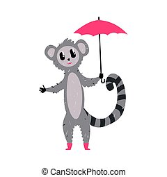 Cute cartoon lemur with red umbrella. African animal colorful character vector Illustration